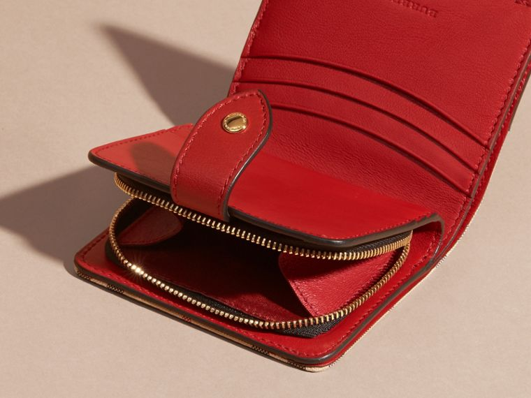 Horseferry Check and Leather Wallet in Parade Red - cell image 4