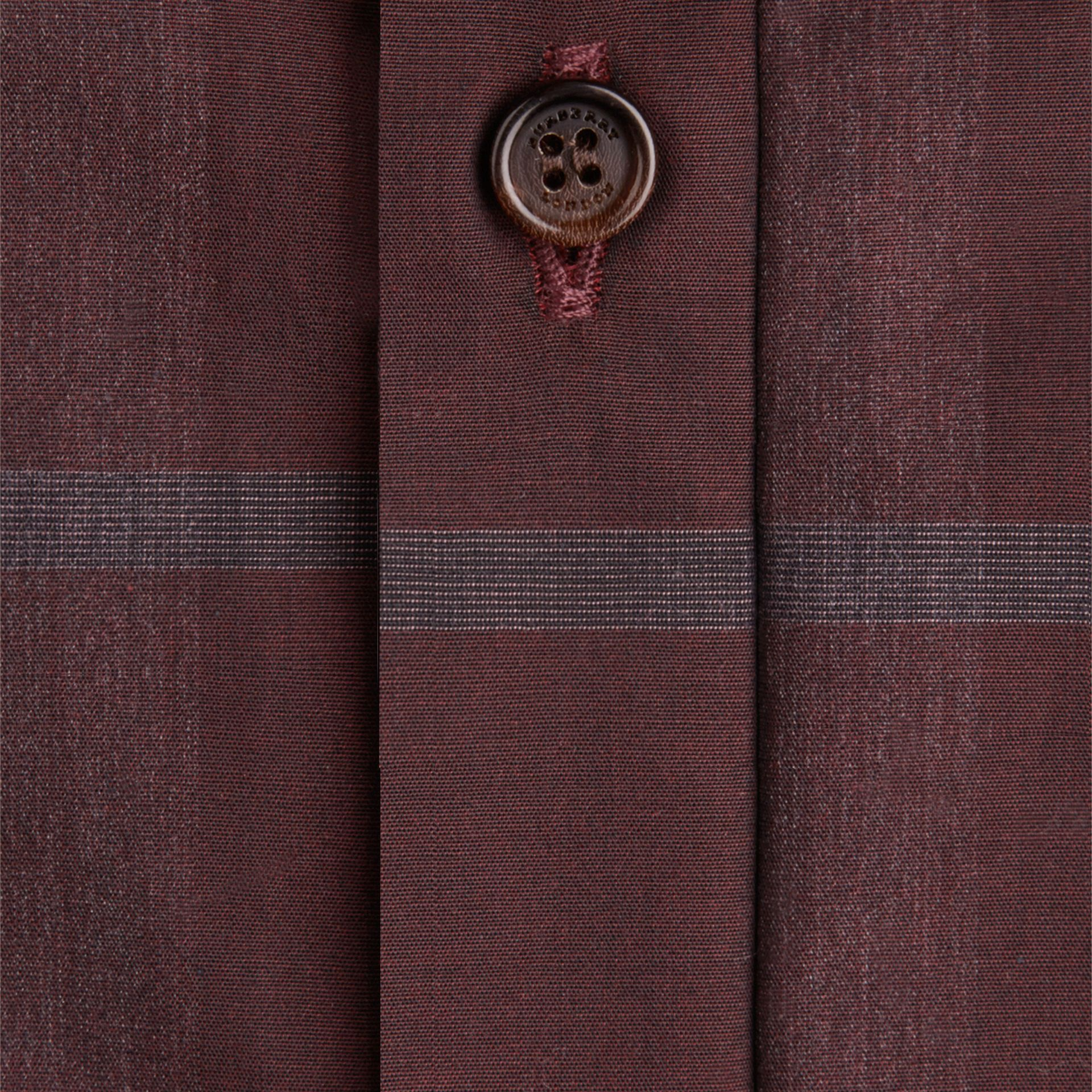Deep burgundy Check Cotton Shirt Deep Burgundy - gallery image 2