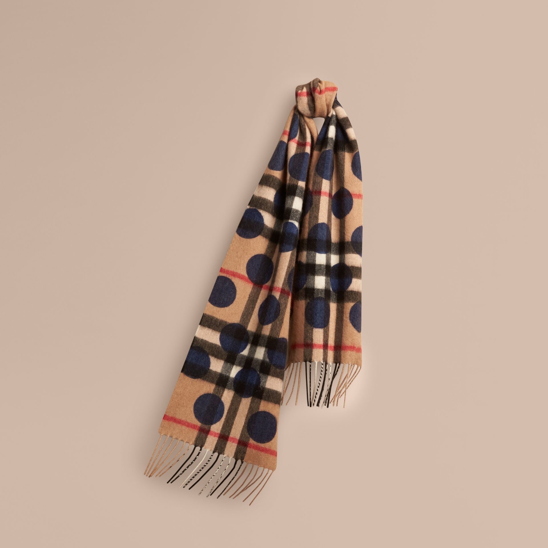The Mini Classic Check Cashmere Scarf with Spots in Indigo Blue | Burberry - gallery image 4