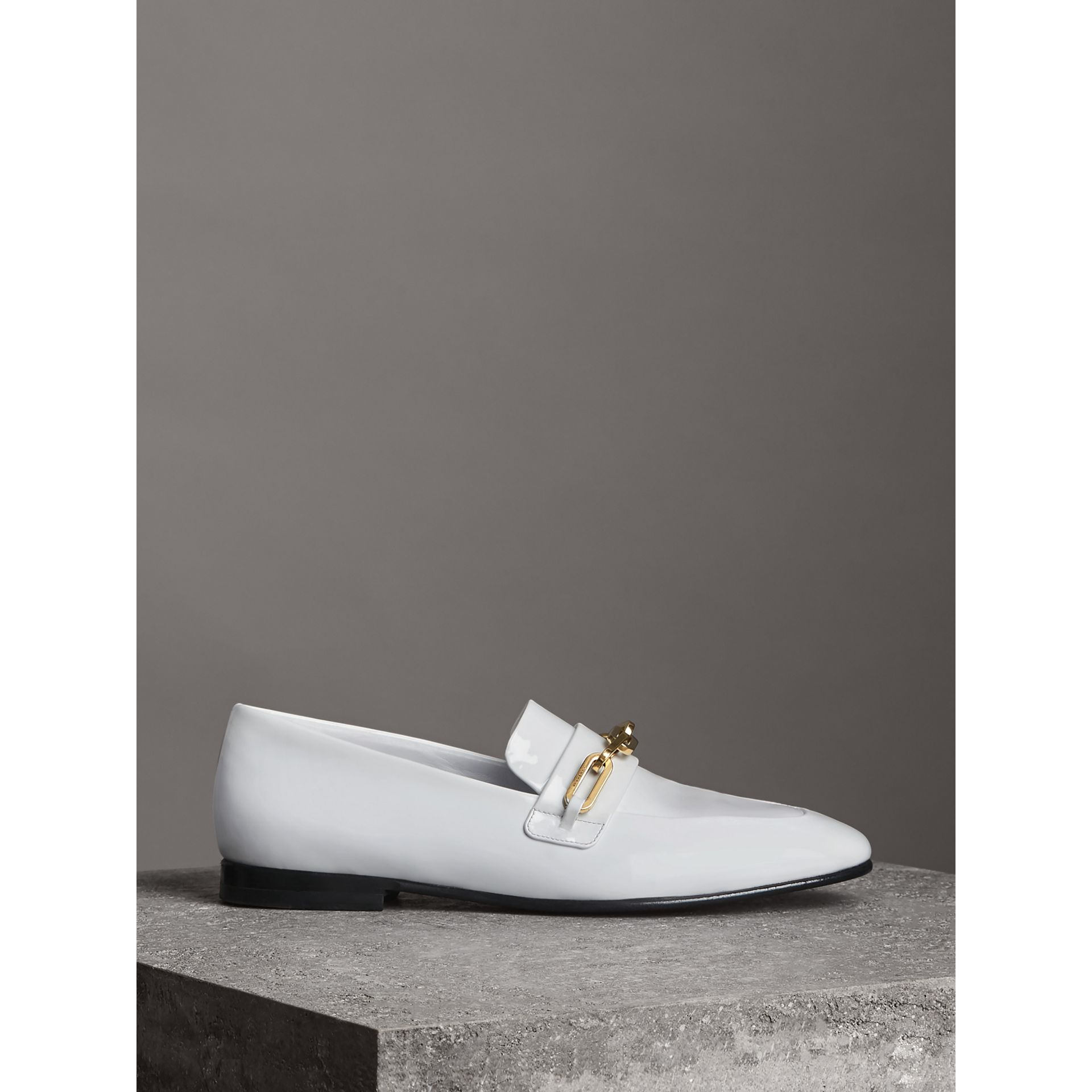 Link Detail Patent Leather Loafers in Optic White - Women | Burberry - gallery image 4
