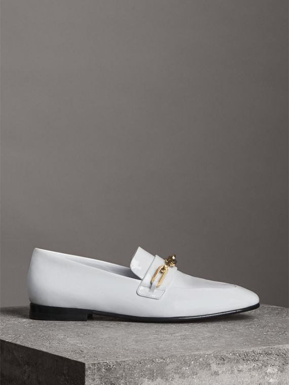 Link Detail Patent Leather Loafers in Optic White