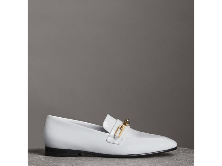 Link Detail Patent Leather Loafers in Optic White - Women | Burberry - cell image 4