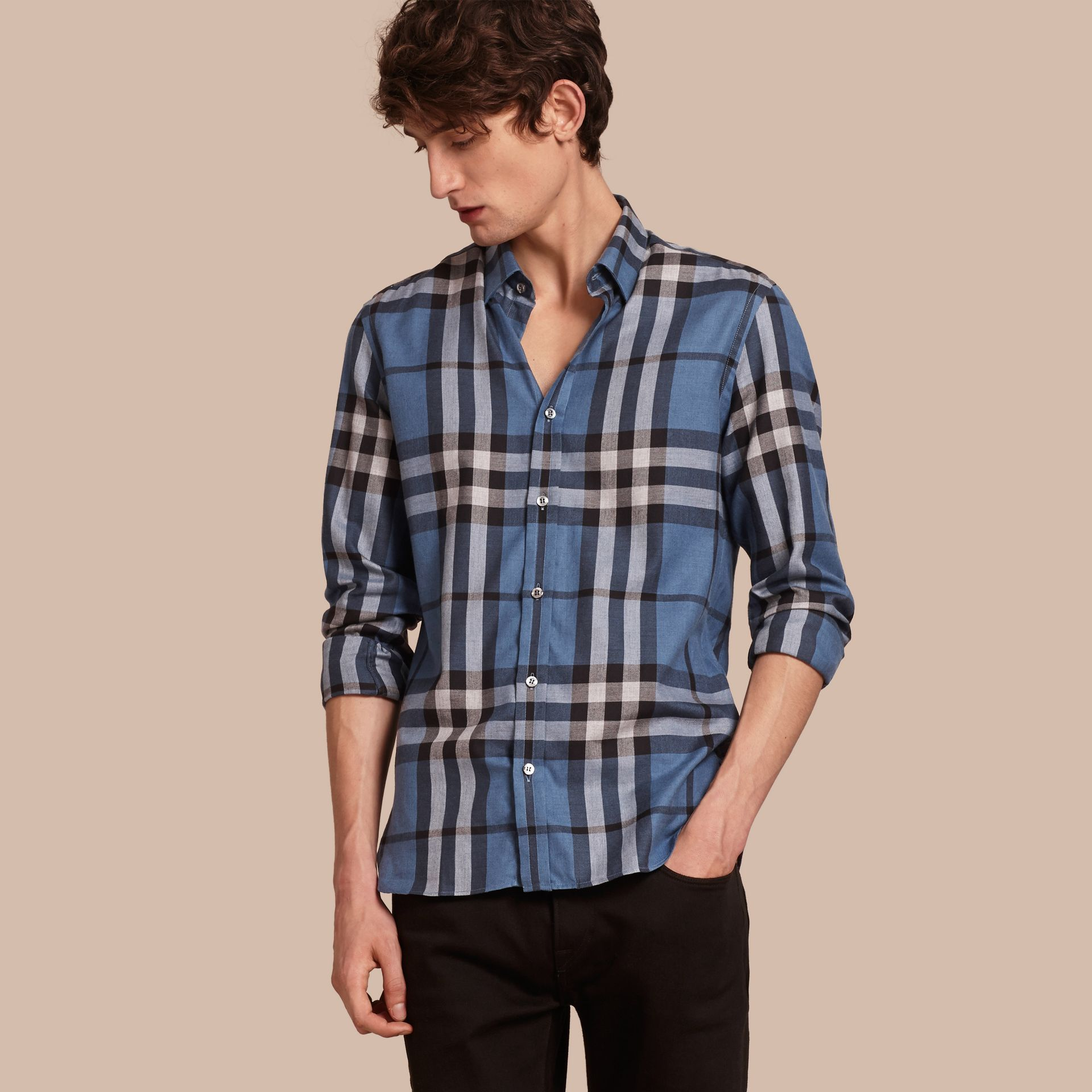 Check Cotton Cashmere Flannel Shirt Pale Lavender Blue - gallery image 1