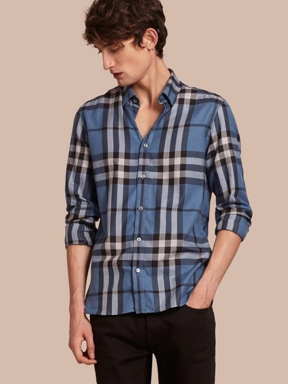 Camicia in flanella di cotone e cashmere con motivo tartan Blu Lavanda Pallido