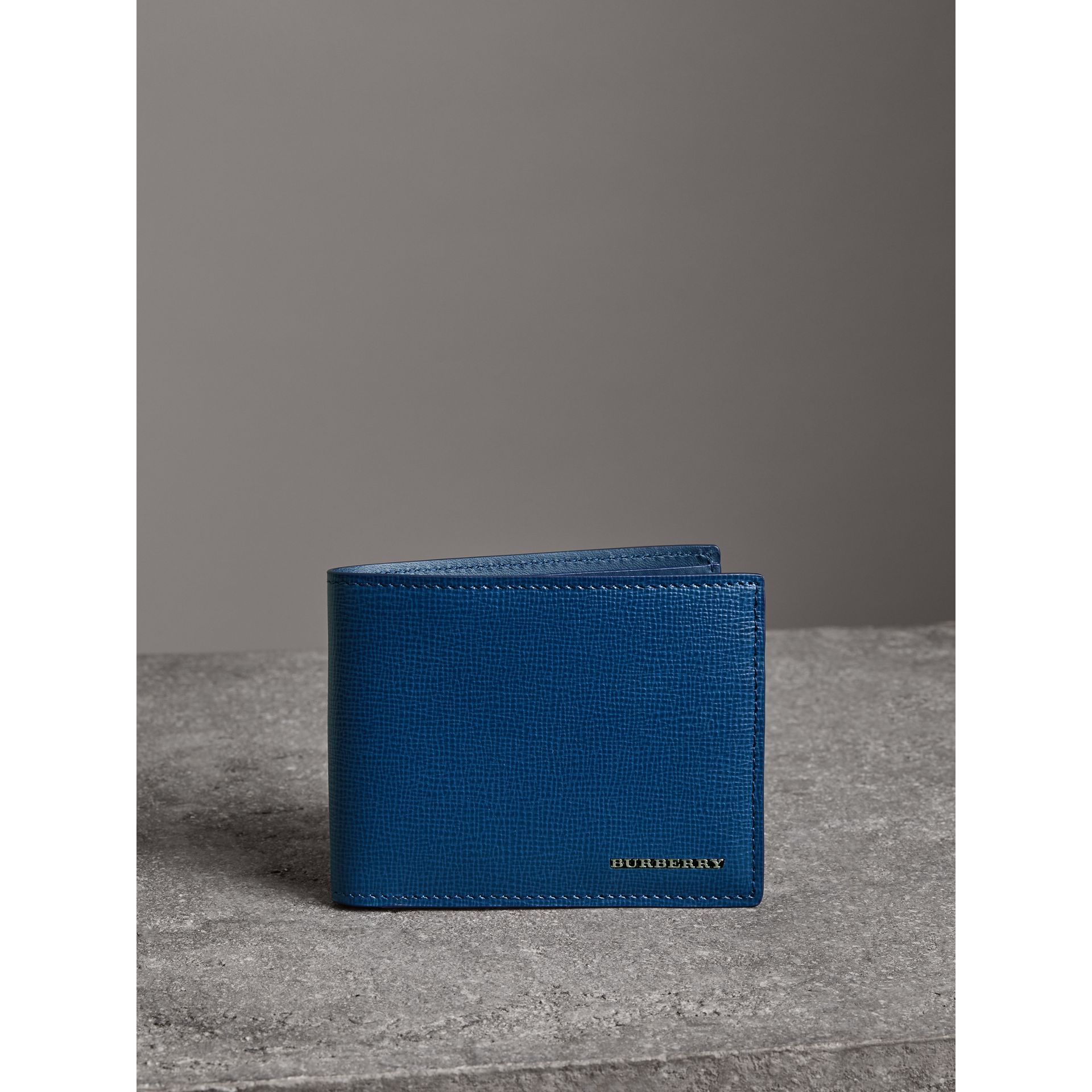 London Leather Bifold Wallet in Deep Blue - Men | Burberry - gallery image 4