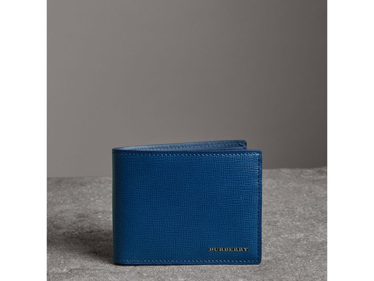 London Leather Bifold Wallet in Deep Blue - Men | Burberry United States - cell image 4