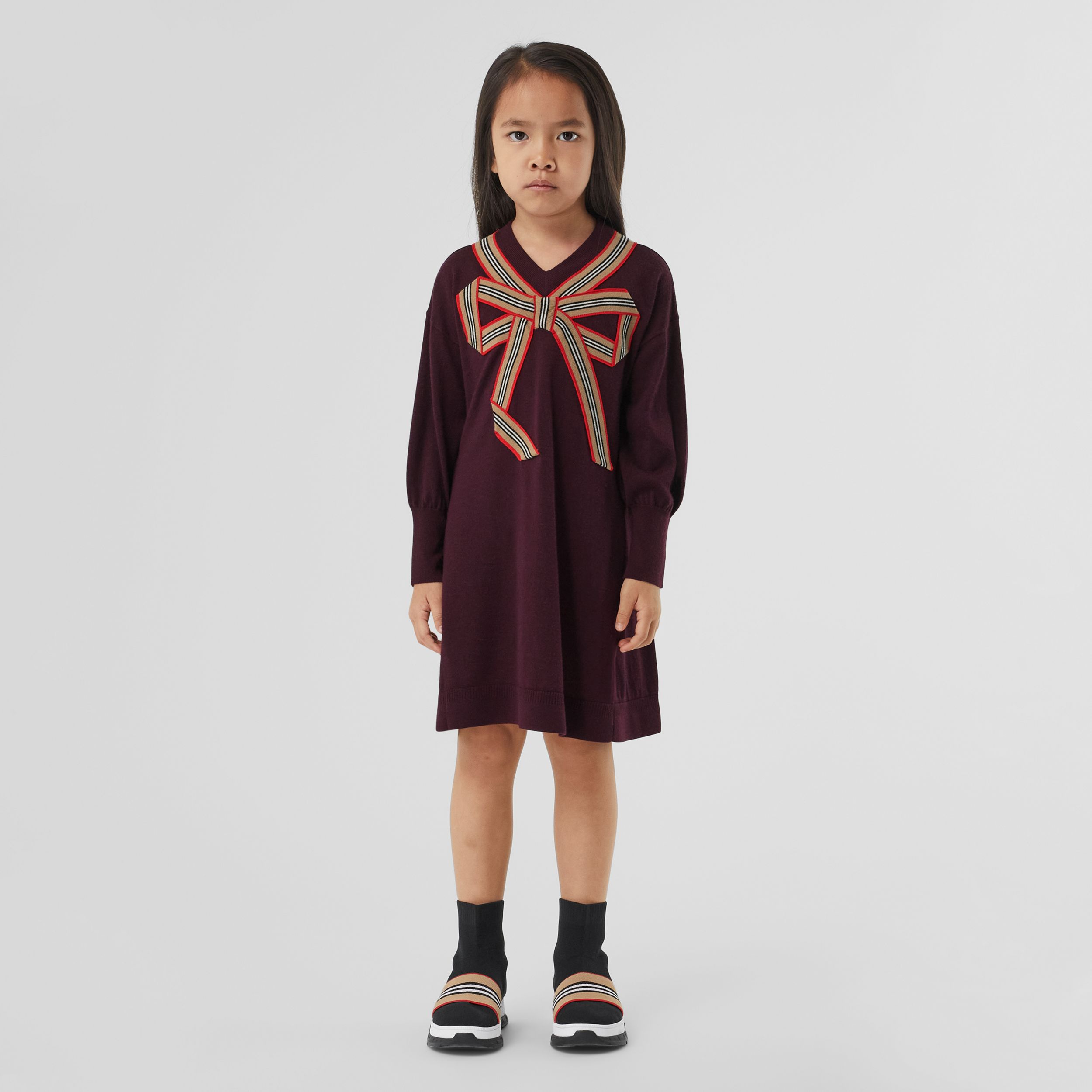 Icon Stripe Bow Merino Wool Silk Sweater Dress in Burgundy | Burberry Hong Kong S.A.R. - 3