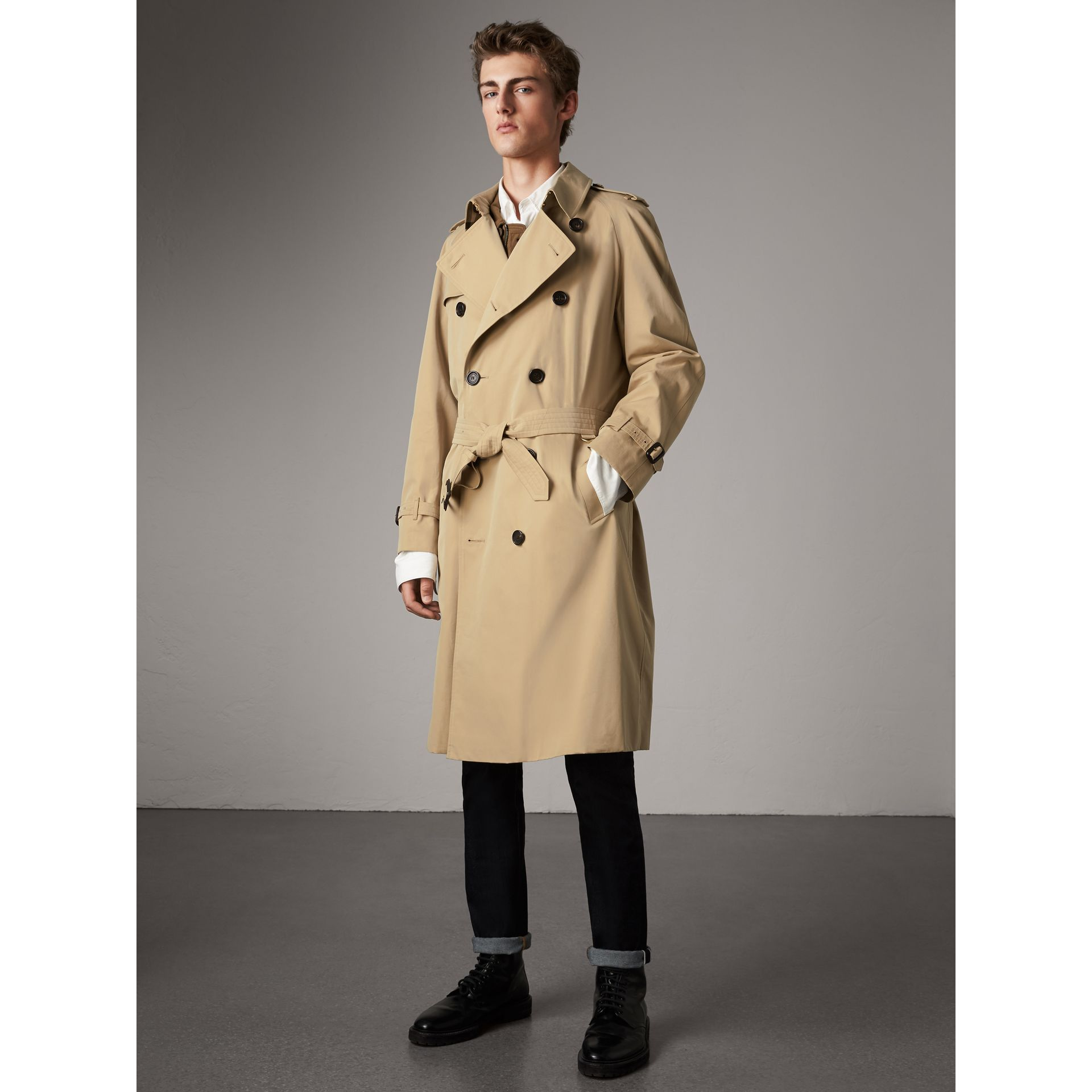 the westminster extra long trench coat in honey men burberry united states. Black Bedroom Furniture Sets. Home Design Ideas