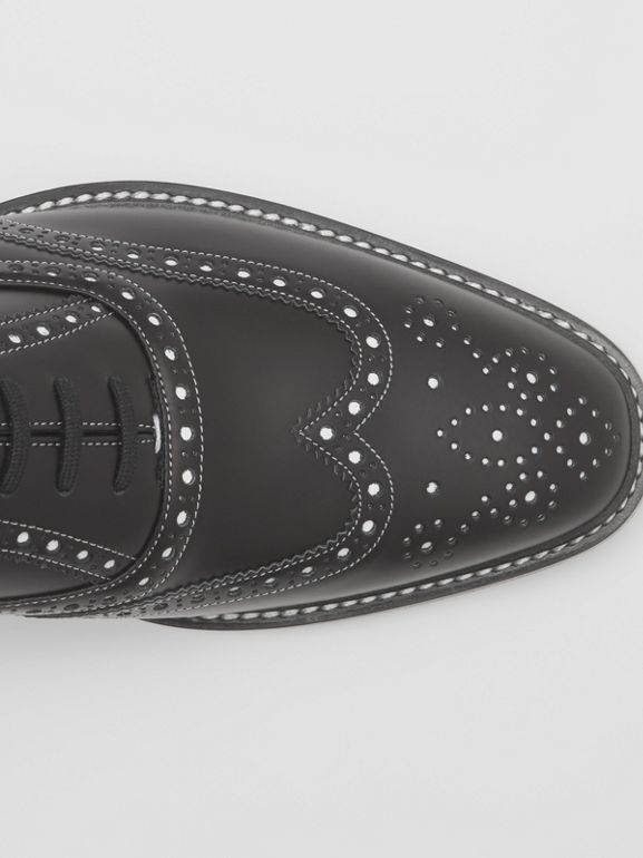 D-ring Detail Two-tone Leather Oxford Brogues in Black/white - Men | Burberry United Kingdom - cell image 1