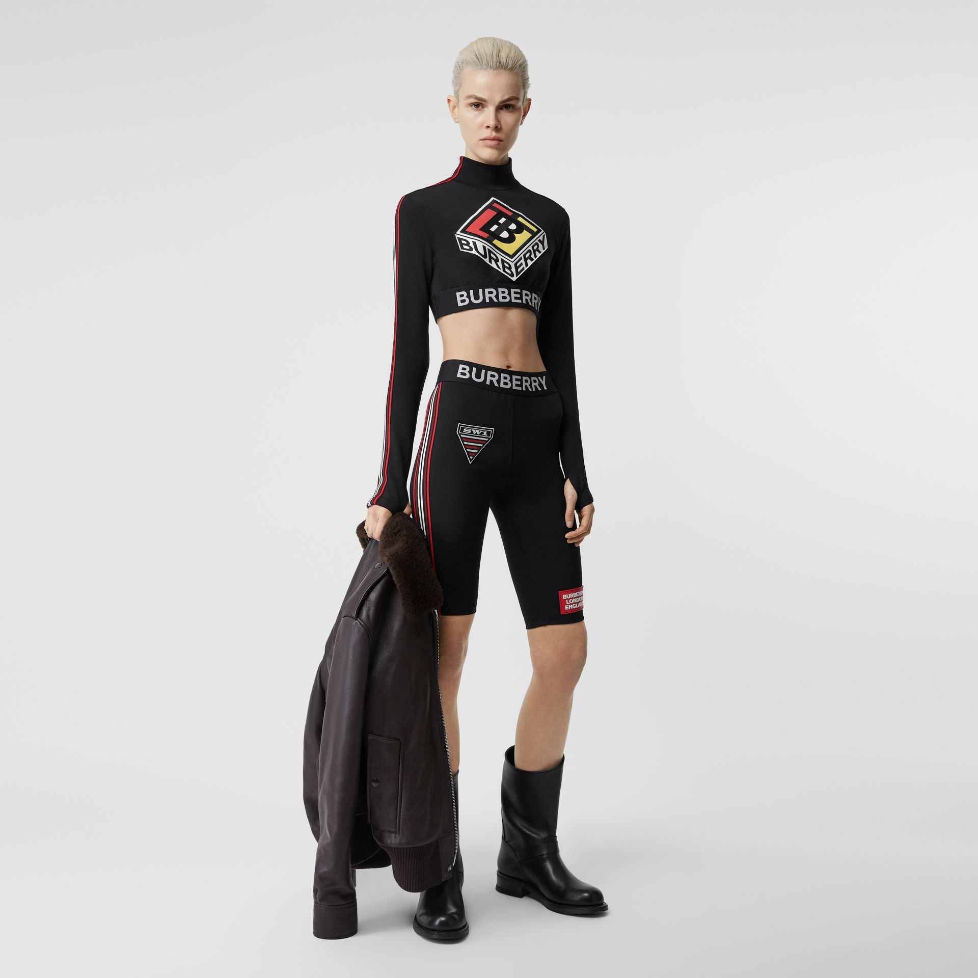 Logo Graphic Stretch Jersey Cycling Shorts in Black - Women | Burberry - gallery image 0