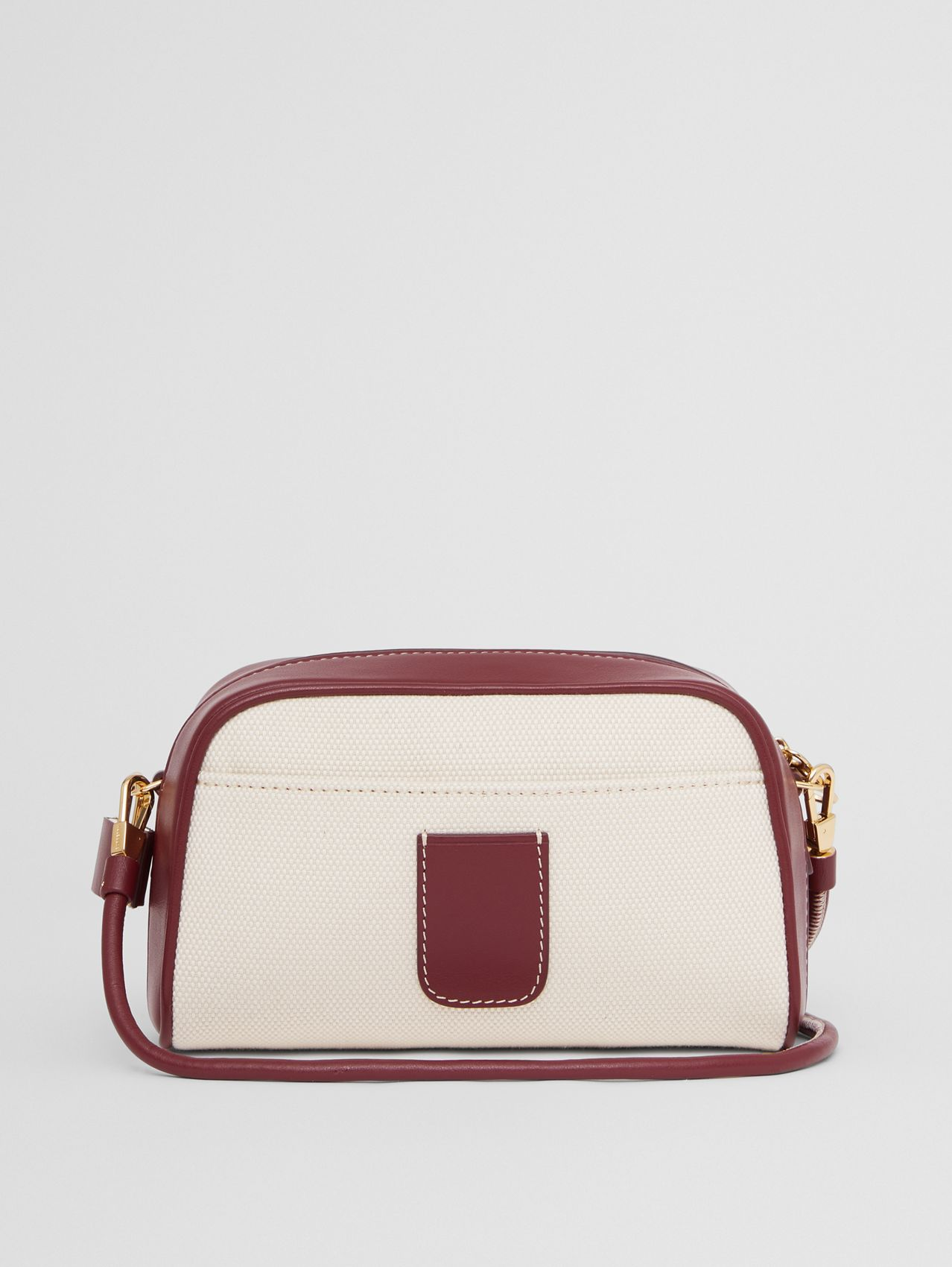 Horseferry Print Canvas Half Cube Crossbody Bag in Natural/garnet