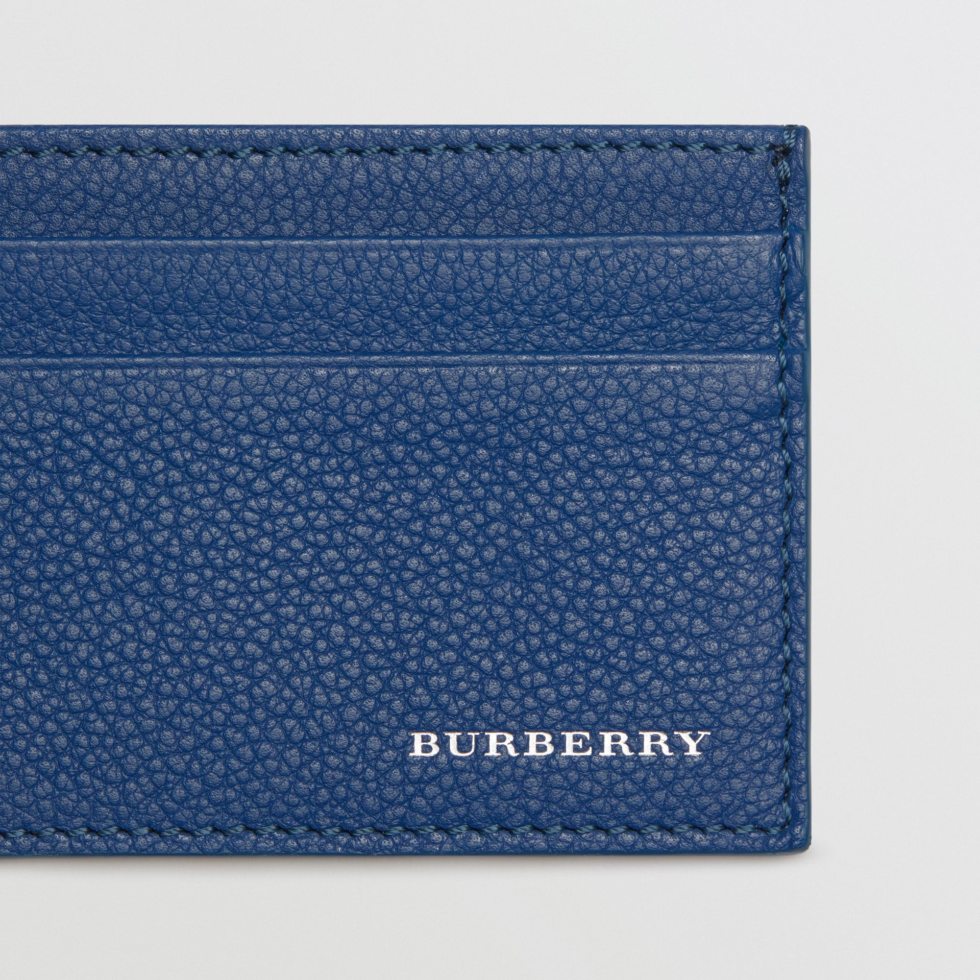 Grainy Leather Card Case in Bright Ultramarine | Burberry - gallery image 1