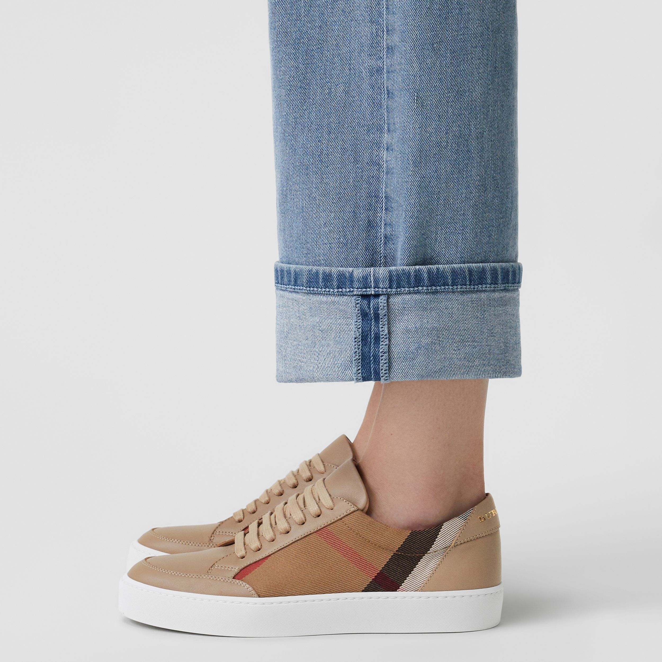 Check Detail Leather Sneakers in House Check/ Nude - Women | Burberry United Kingdom - 3