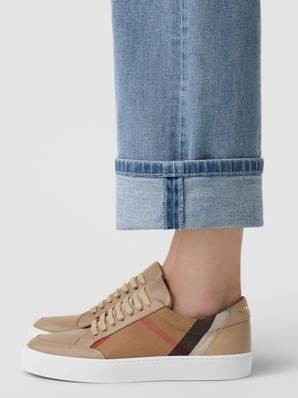 Check Detail Leather Sneakers in House Check/ Nude - Women | Burberry United States - cell image 2