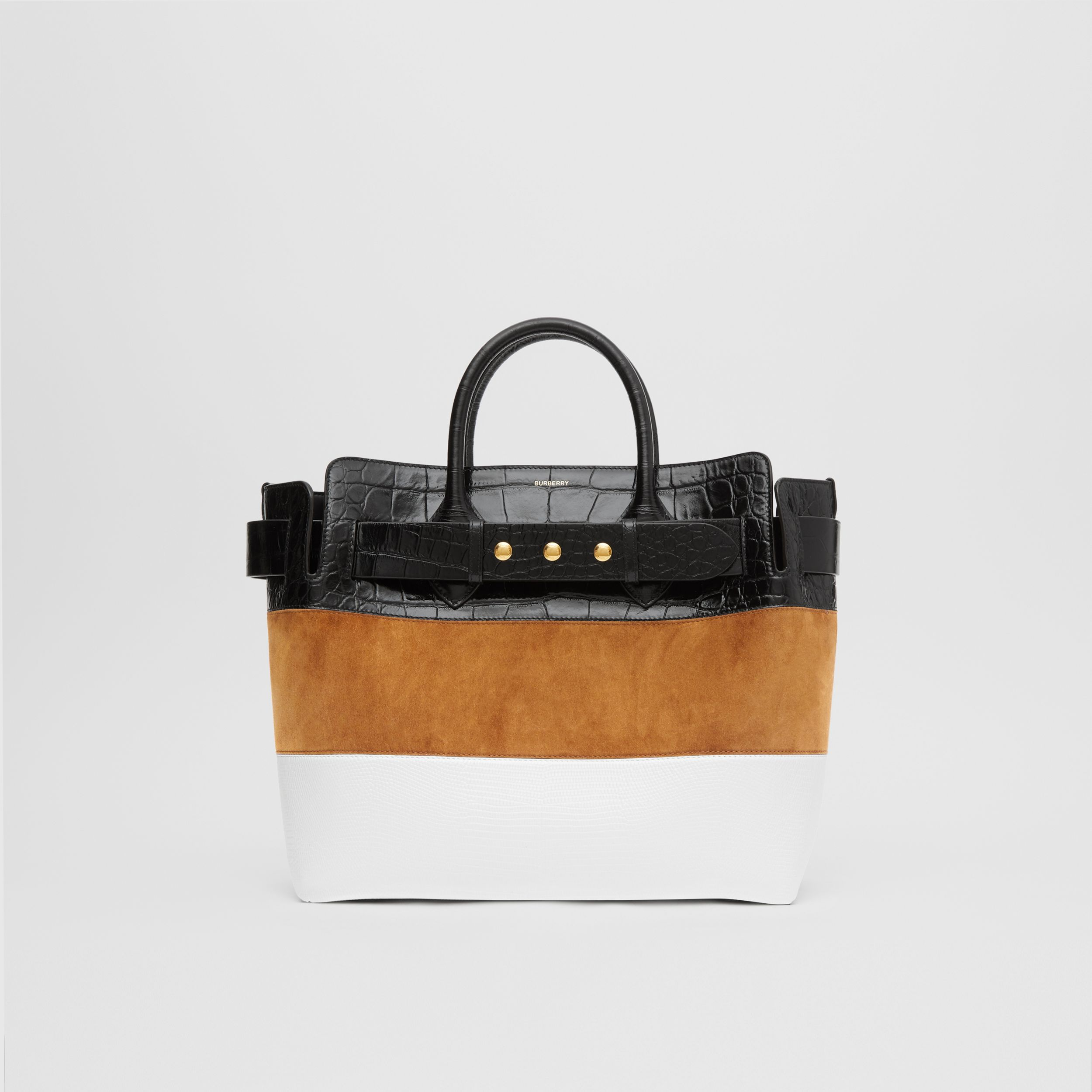 The Medium Suede and Leather Triple Stud Belt Bag in Maple/tan - Women | Burberry - 1