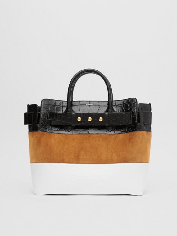 The Medium Belt Bag aus Veloursleder und Leder mit Ziernieten (Ahornfarben/hellbraun)