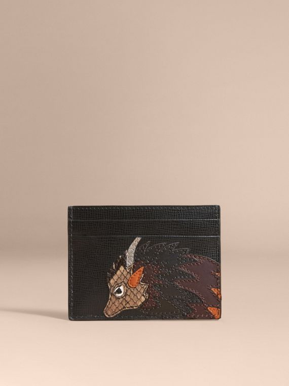 Beasts Motif Leather Card Case - Men | Burberry Singapore