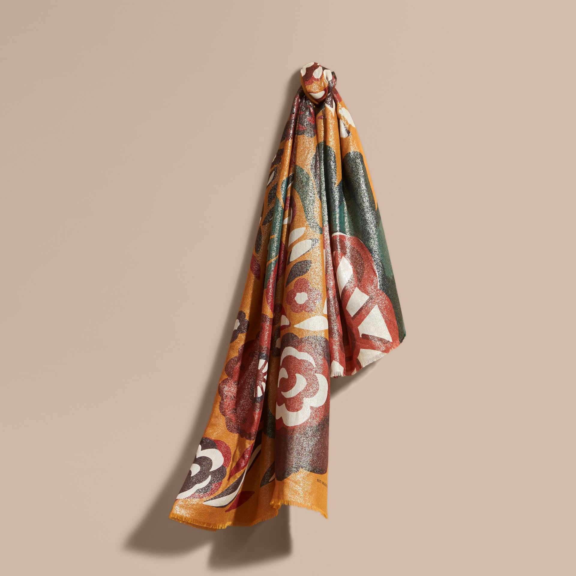 Burnt orange Floral Metallic Cashmere Scarf Burnt Orange - gallery image 1