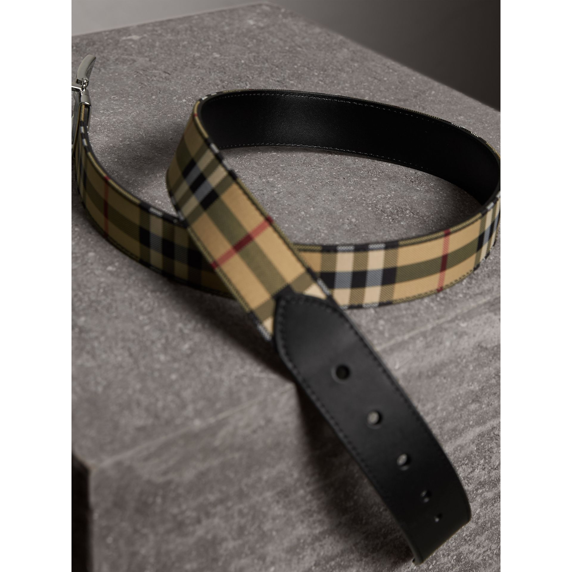 Reversible Horseferry Check and Leather Belt in Black - Men | Burberry - gallery image 3