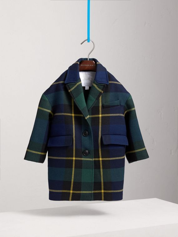 Tartan Wool Coat in Pine Green - Girl | Burberry - cell image 2