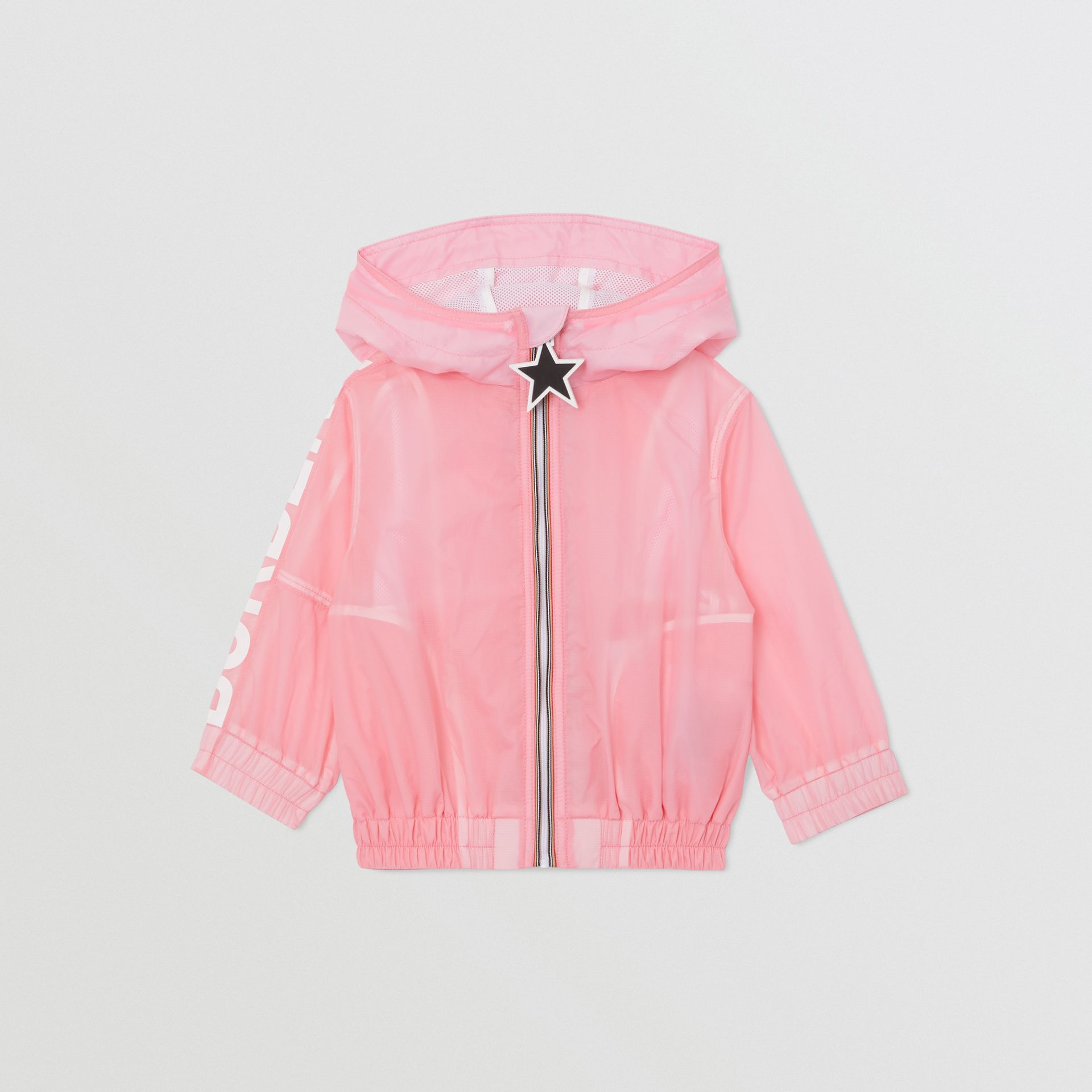 Star Detail Logo Print Lightweight Hooded Jacket in Candy Pink - Children | Burberry United Kingdom - gallery image 0