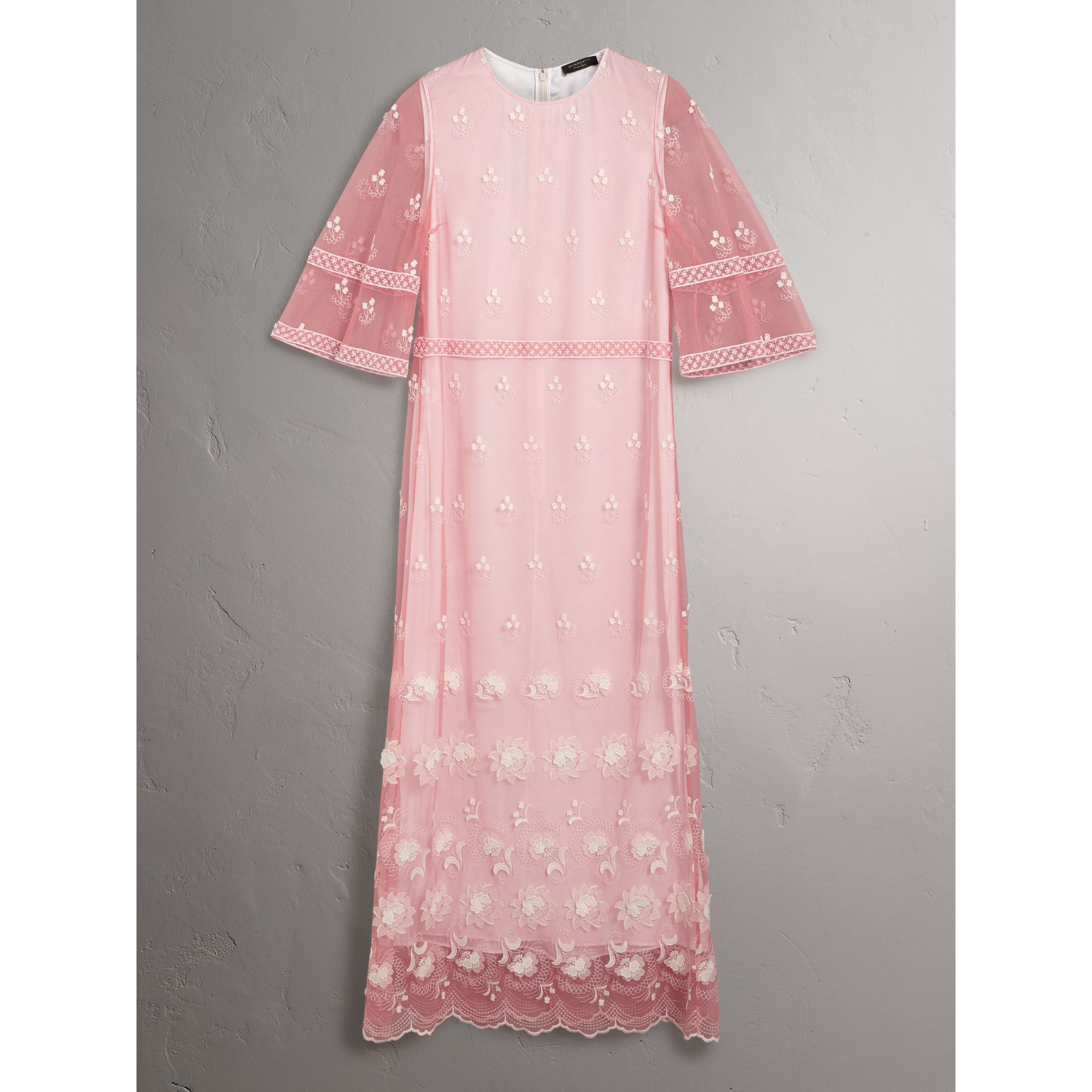 Flare-sleeve Embroidered Tulle Dress in Rose Pink/white - Women | Burberry - gallery image 3