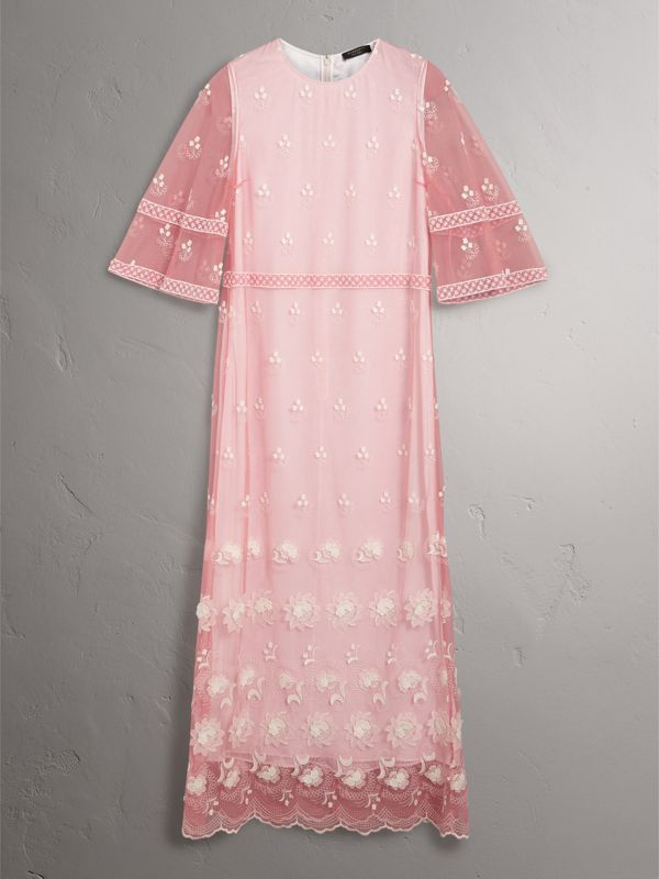 Flare-sleeve Embroidered Tulle Dress in Rose Pink/white - Women | Burberry United Kingdom - cell image 3