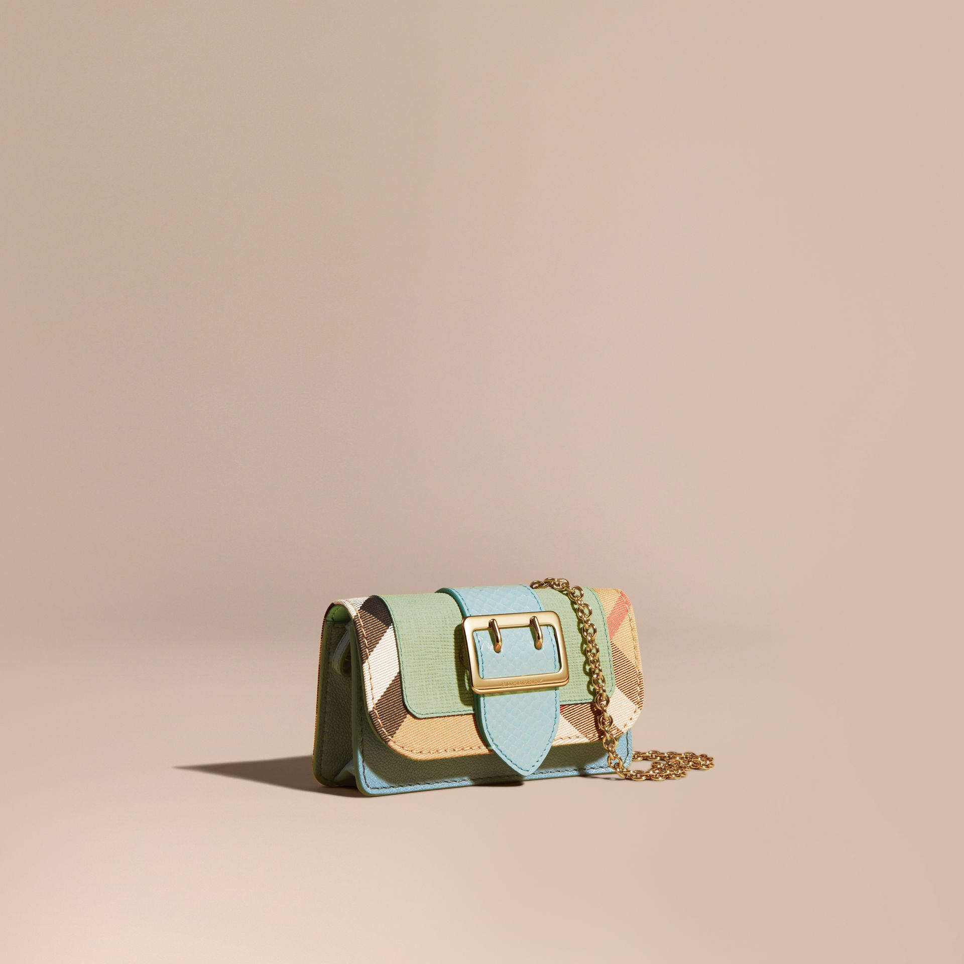 Light mint The Mini Buckle Bag in Snakeskin and House Check - gallery image 1