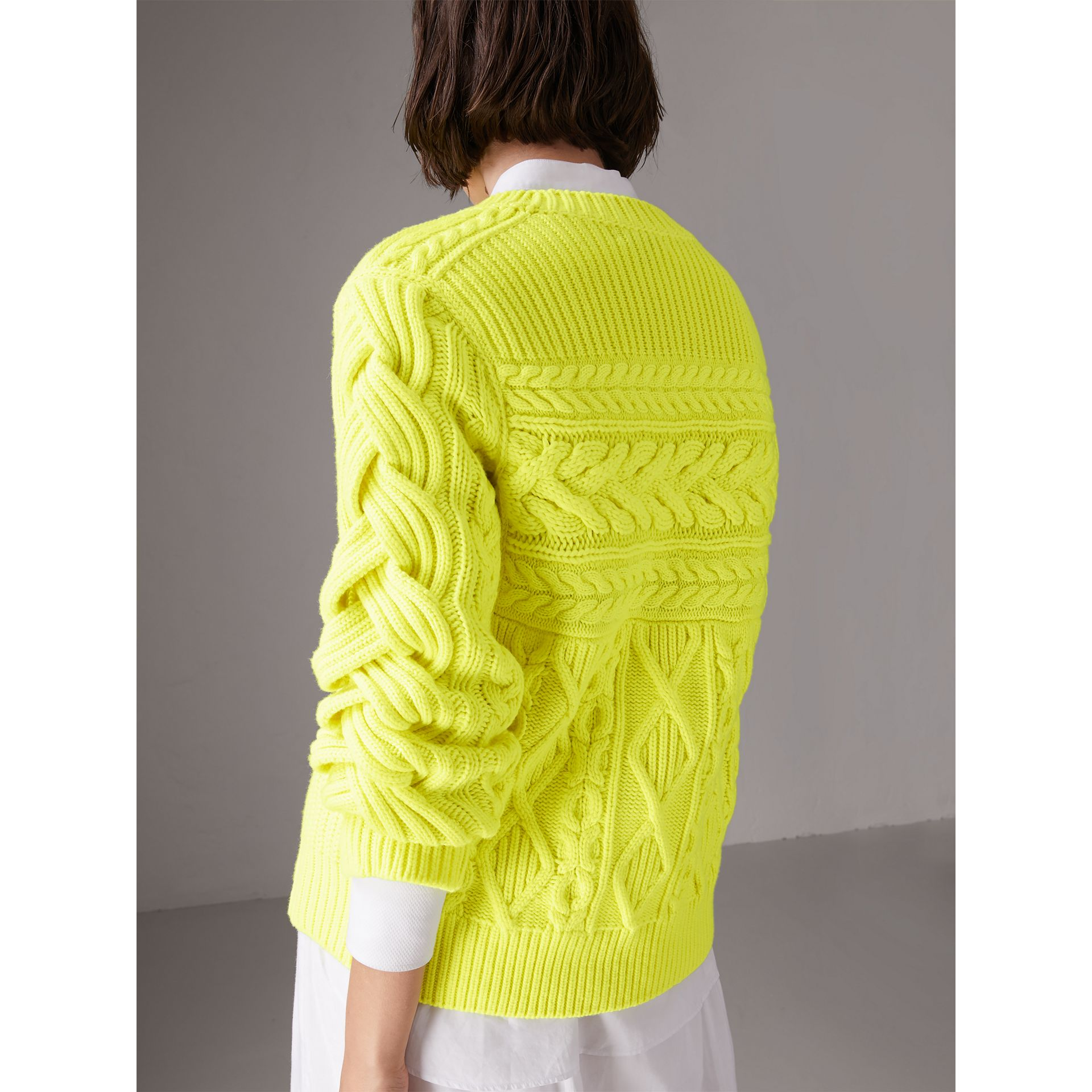 Aran Knit Wool Cashmere Sweater in Fluorescent Yellow - Women | Burberry - gallery image 2