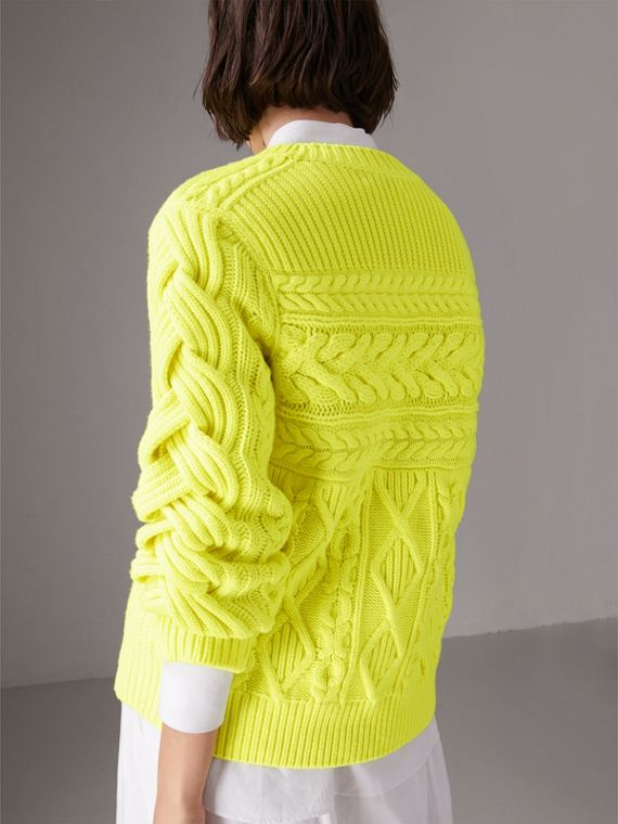 Aran Knit Wool Cashmere Sweater in Fluorescent Yellow - Women | Burberry - cell image 2