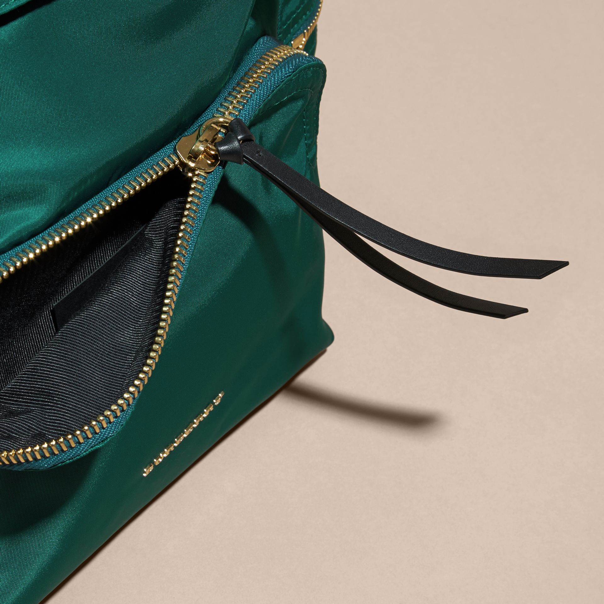 Pine green The Medium Rucksack in Technical Nylon and Leather Pine Green - gallery image 5
