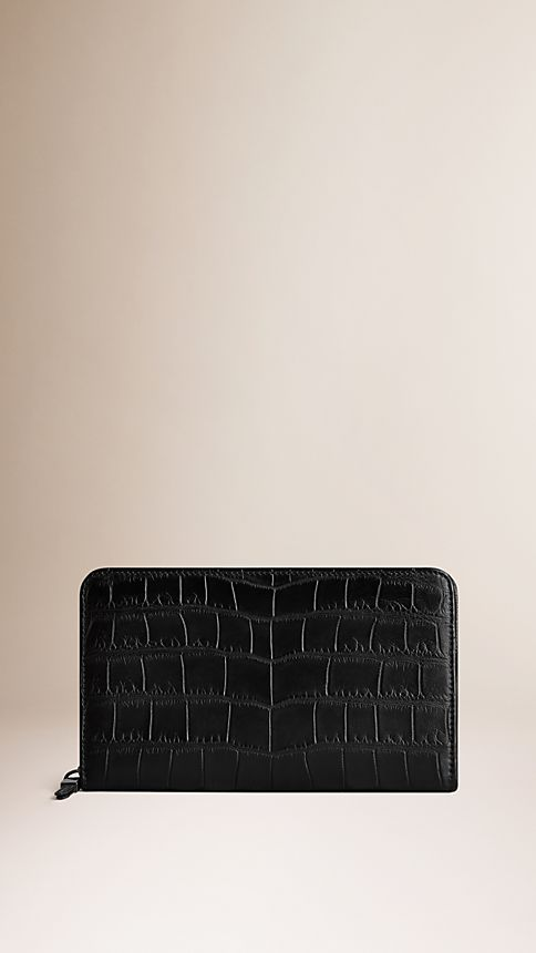 Black Alligator Leather Travel Wallet - Image 1