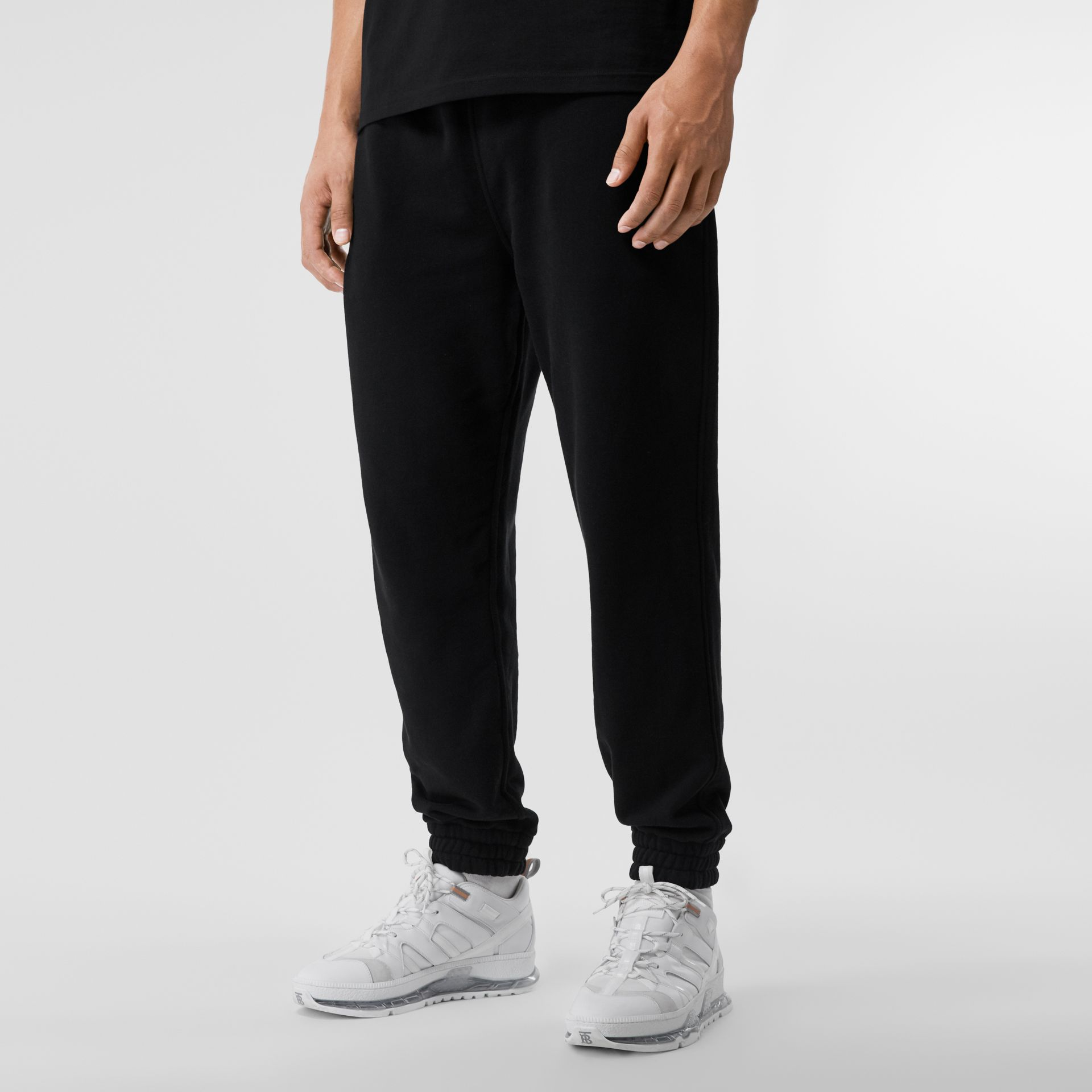 Logo Appliqué Cotton Trackpants in Black - Men | Burberry Canada - gallery image 4