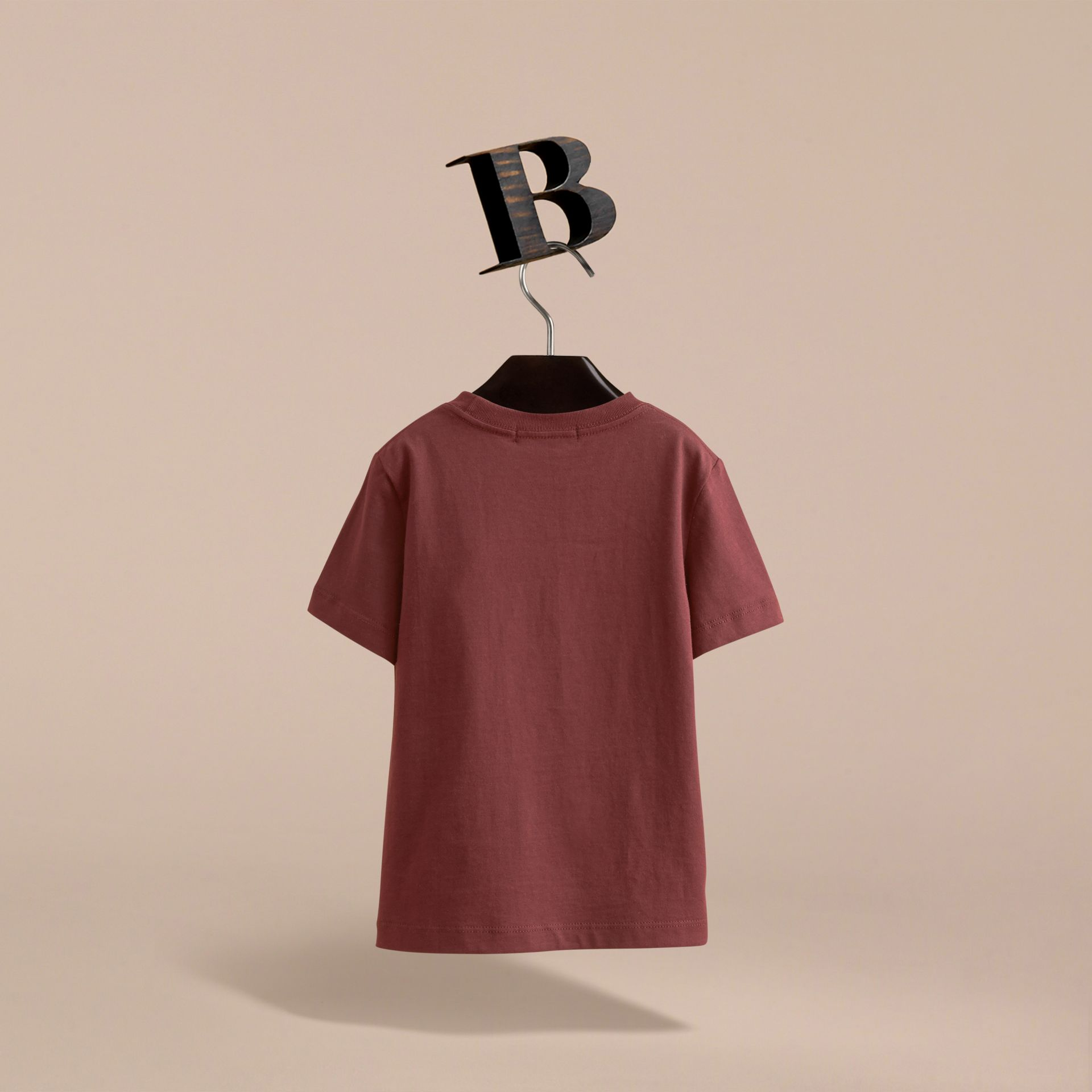 Check Pocket Cotton T-shirt in Oxblood - Boy | Burberry United Kingdom - gallery image 4