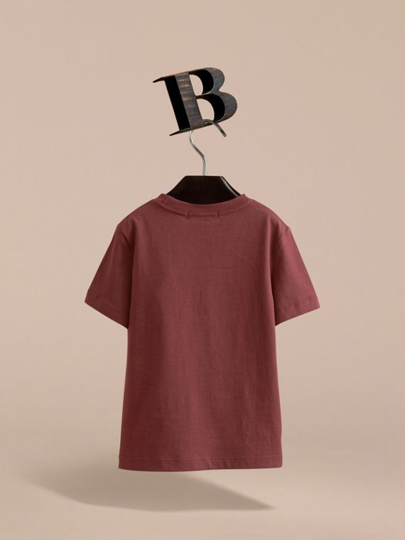Check Pocket Cotton T-shirt in Oxblood - Boy | Burberry - cell image 3