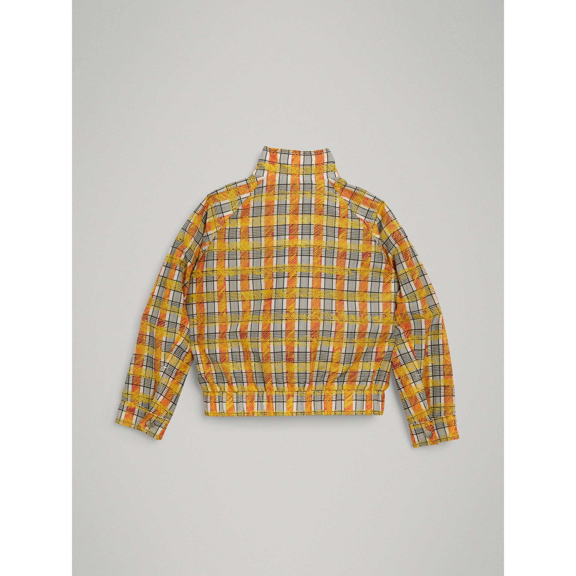 Scribble Check Cotton Silk Harrington Jacket in Bright Yellow - Girl | Burberry - gallery image 3