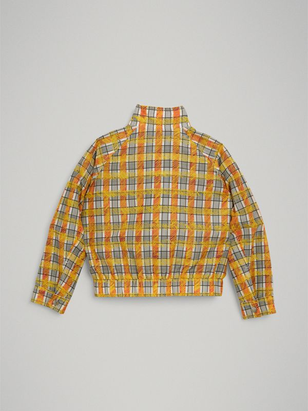 Scribble Check Cotton Silk Harrington Jacket in Bright Yellow | Burberry - cell image 3