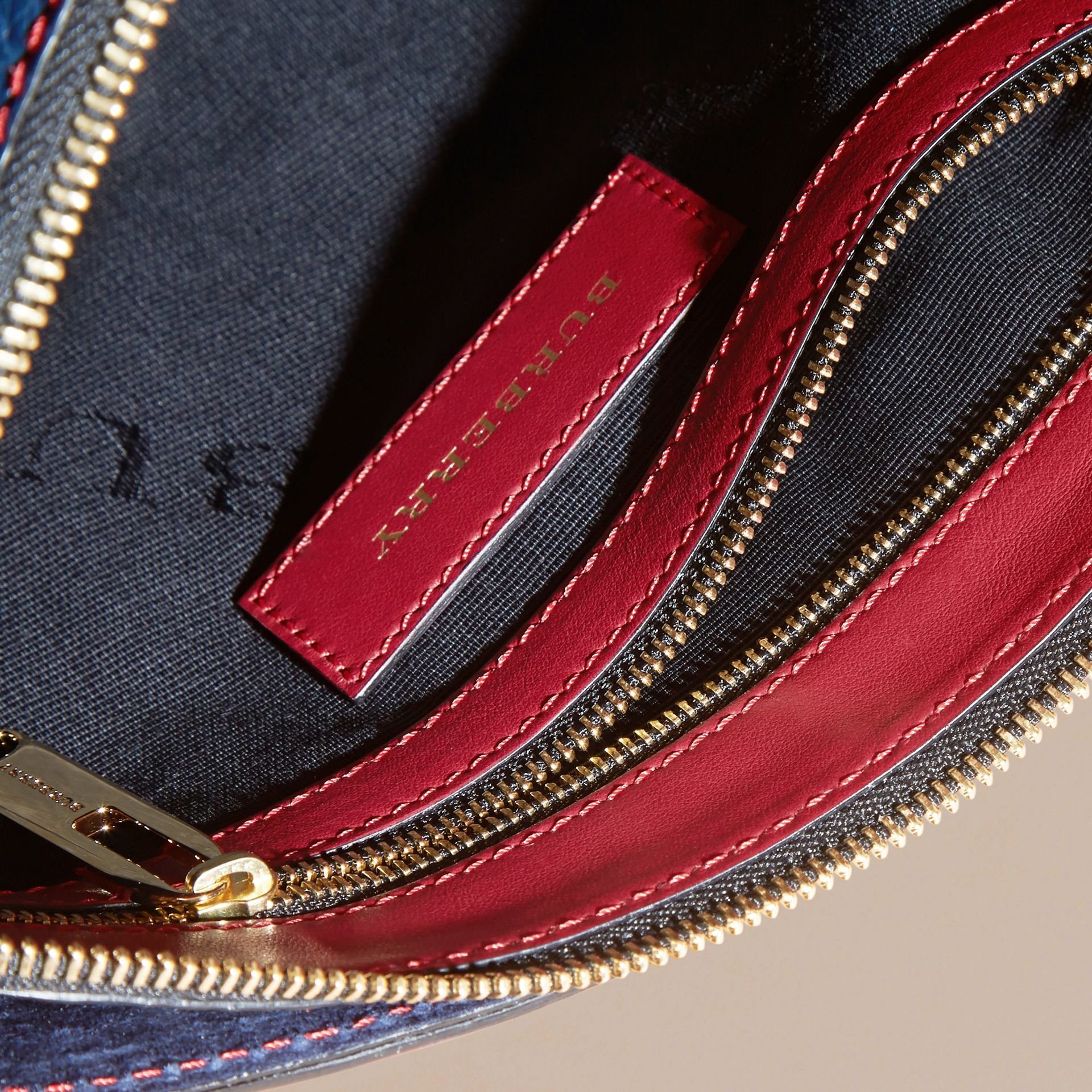 Blue carbon/parade red Small Contrast Border Grainy Leather Clutch Bag - gallery image 6