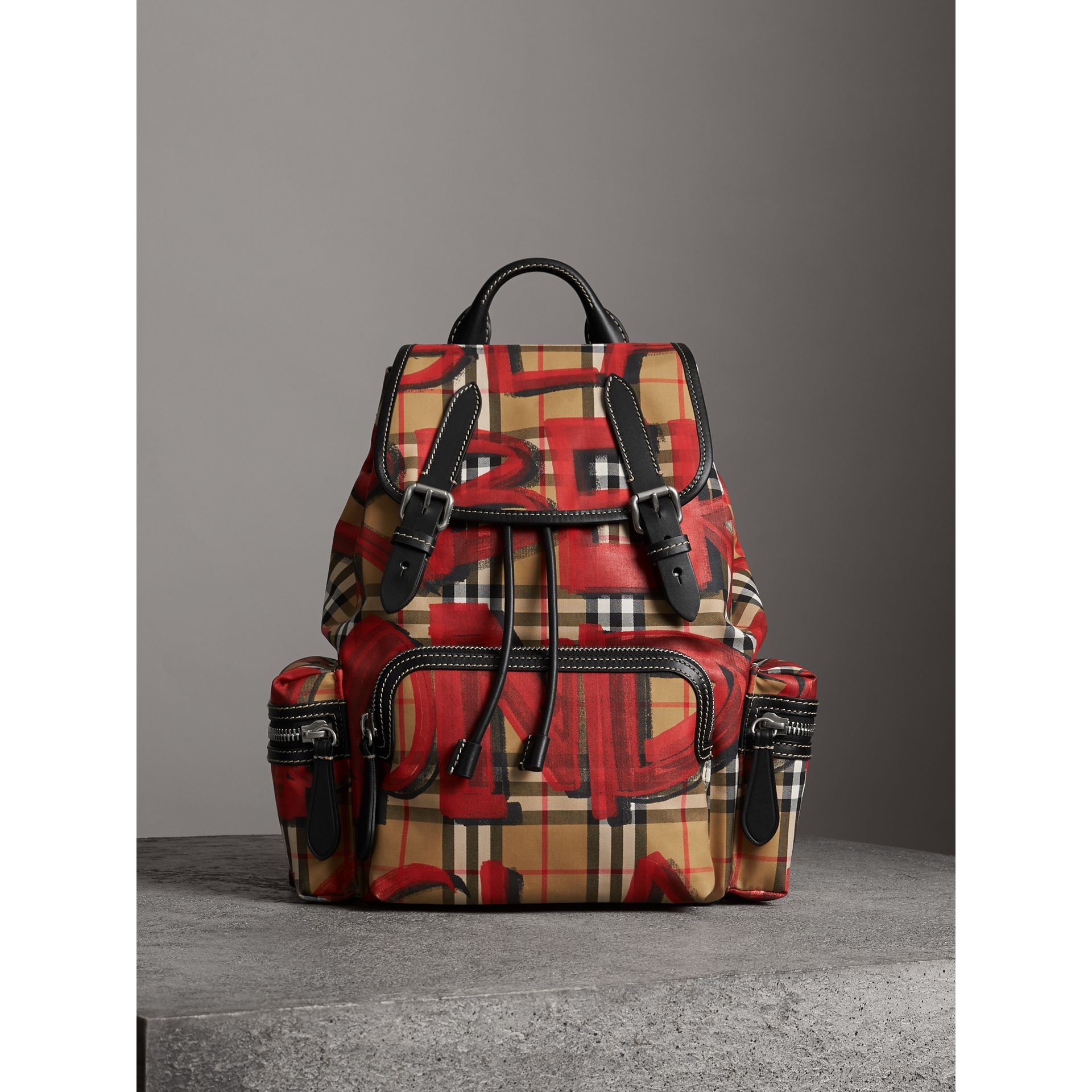 The Medium Rucksack in Graffiti Print Vintage Check in Antique Yellow/red - Women | Burberry Australia - gallery image 6