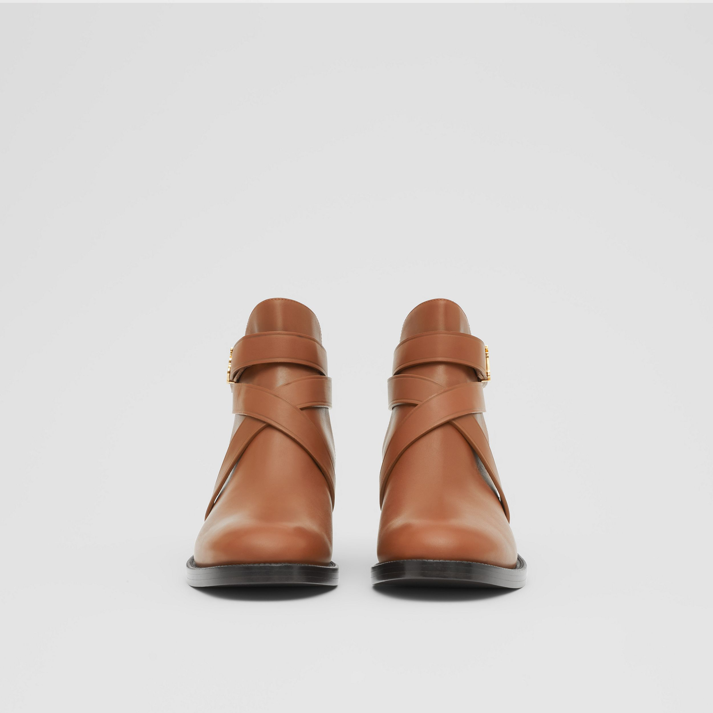 Monogram Motif Leather Ankle Boots in Tan - Women | Burberry Canada - 4