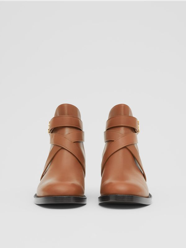 Monogram Motif Leather Ankle Boots in Tan - Women | Burberry - cell image 2