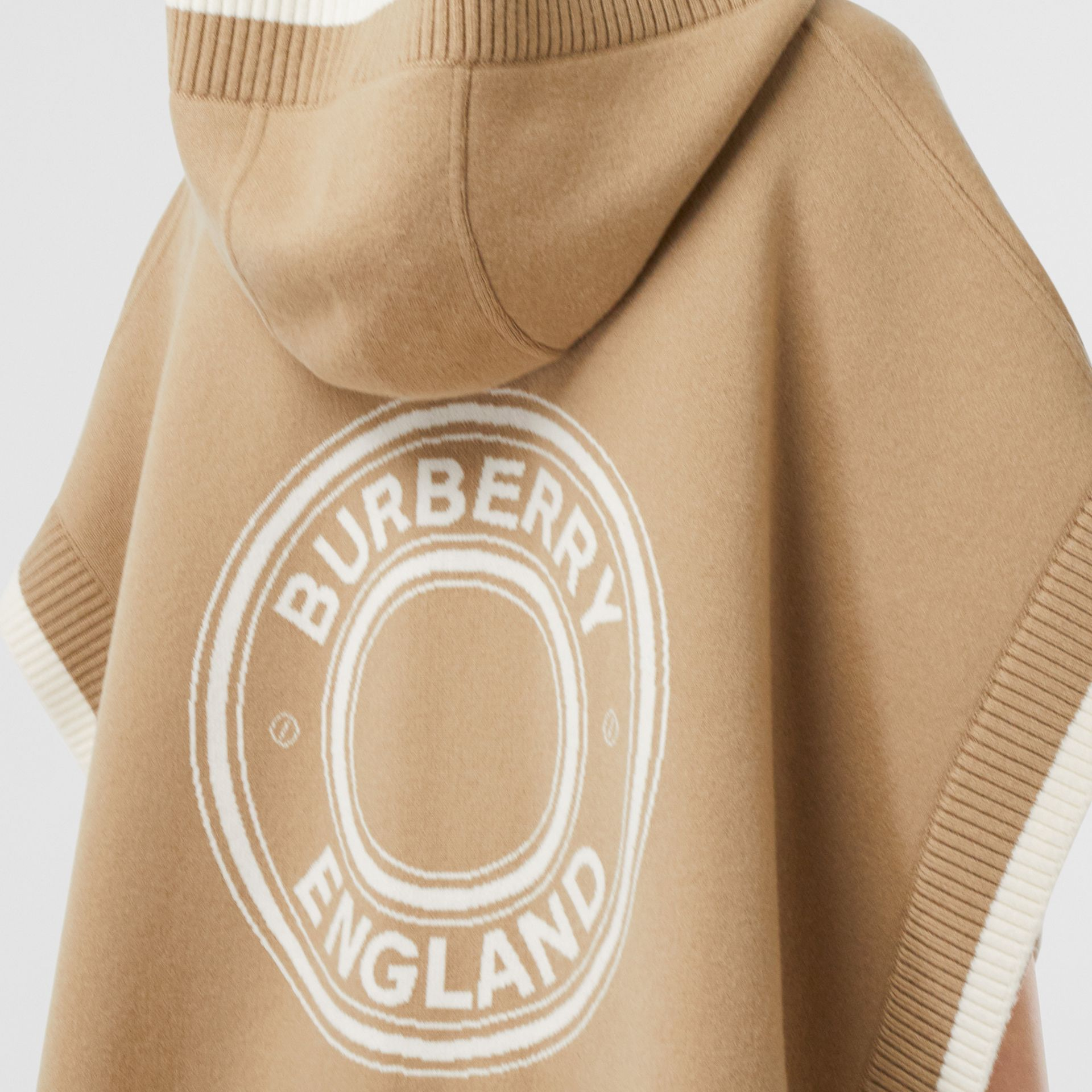 Logo Graphic Wool Cashmere Jacquard Hooded Cape in Archive Beige - Women | Burberry United Kingdom - gallery image 5