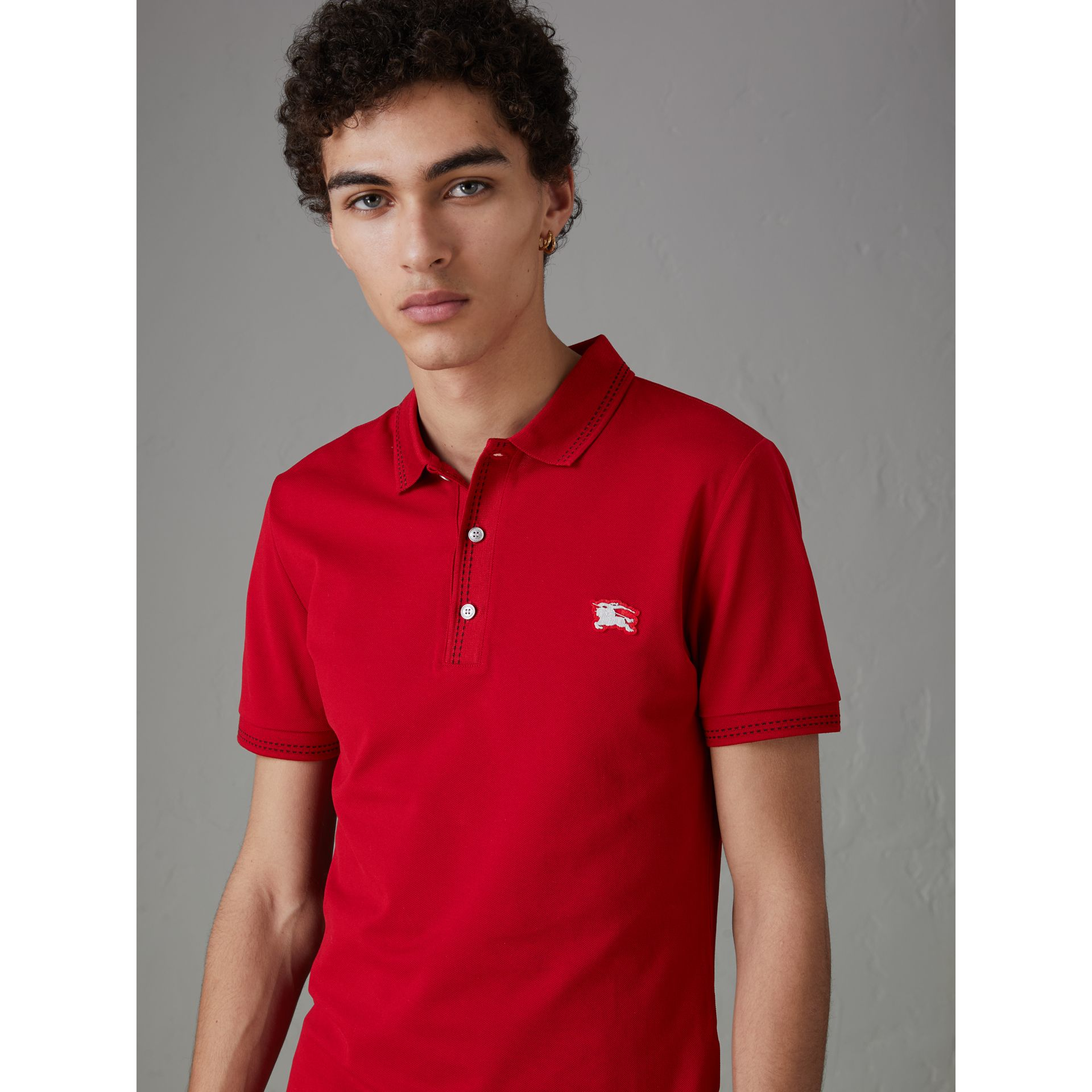 Cotton Piqué Polo Shirt in Military Red - Men | Burberry - gallery image 4