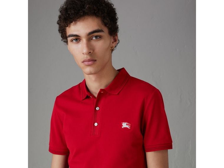 Cotton Piqué Polo Shirt in Military Red - Men | Burberry - cell image 4