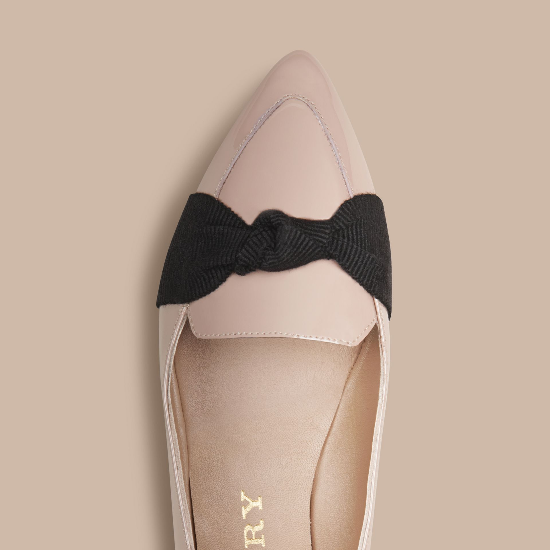 Patent Leather Loafers with Grosgrain Bow Sandstone - gallery image 5