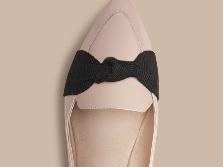 Patent Leather Loafers with Grosgrain Bow Sandstone - cell image 4