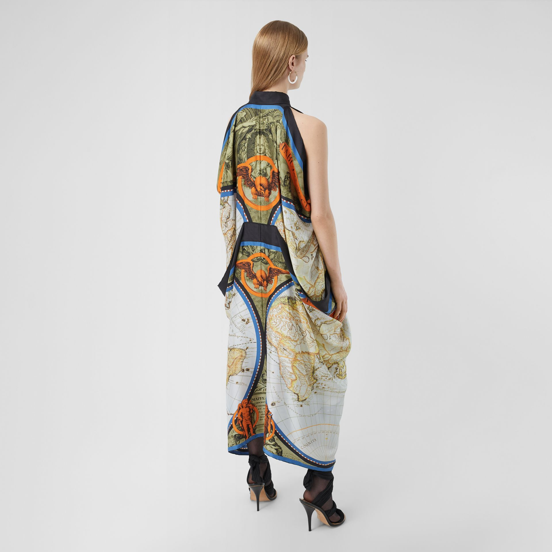 Map Print Draped Silk Dress in Antique Green | Burberry - gallery image 2