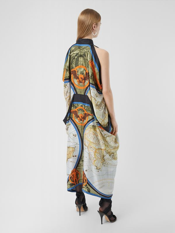 Map Print Draped Silk Dress in Antique Green | Burberry - cell image 2
