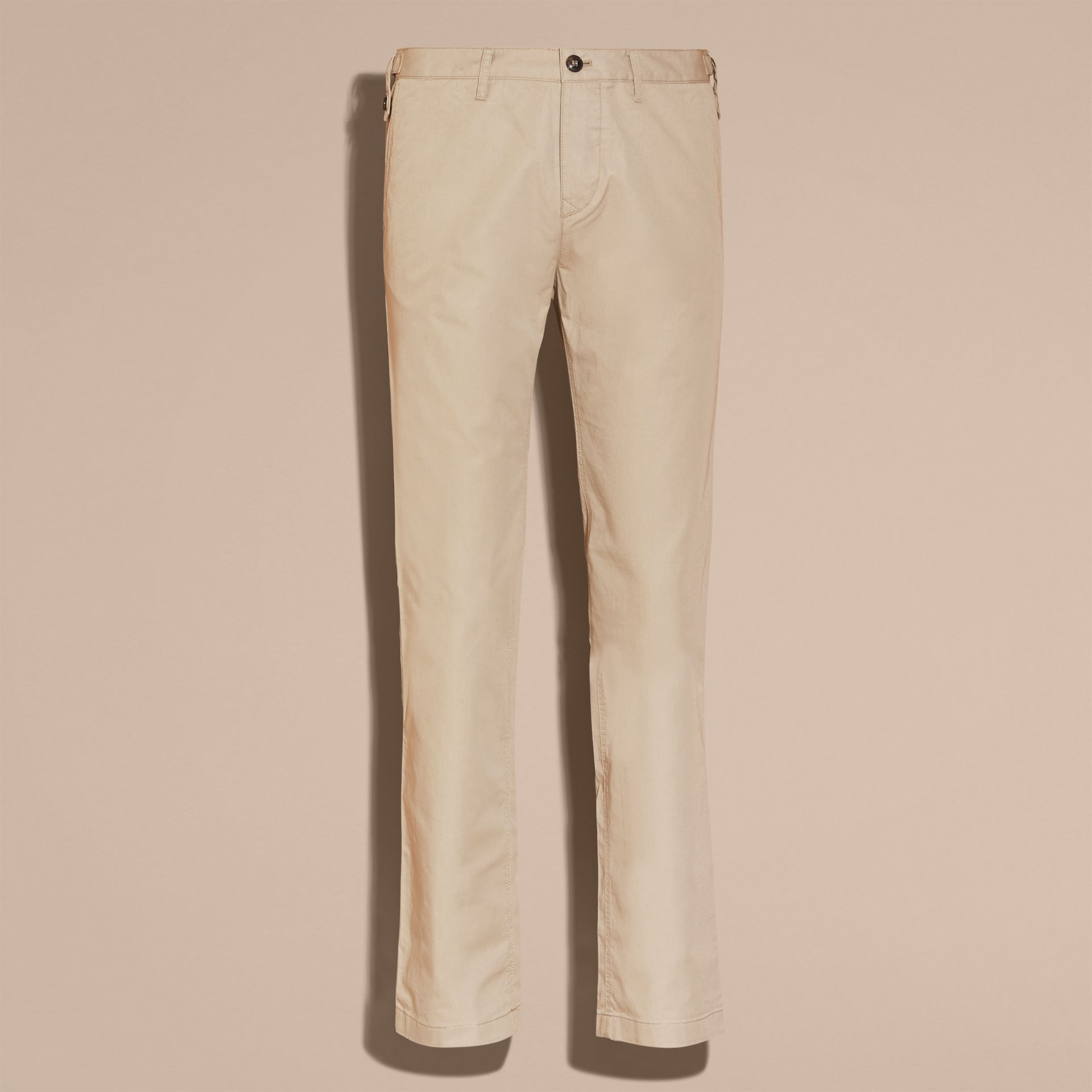 Straight Fit Cotton Chinos in Taupe - gallery image 4