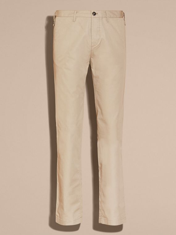 Straight Fit Cotton Chinos in Taupe - Men | Burberry - cell image 3